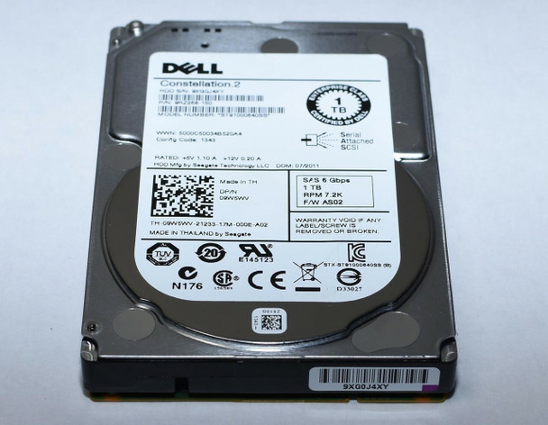 Dell 9W5WV 1TB 7200RPM 2.5inch 64MB Buffer LFF SAS-6Gbps Hot-Swap Nearline Hard Drive for PowerEdge and PowerVault Servers (Lifetime Warranty)