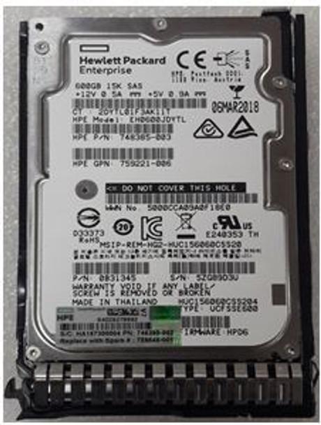 HPE 748385-003 600GB 15000RPM 2.5inch SFF SAS-12Gbps SC Enterprise Hard Drive for ProLiant Gen8 Gen9 Gen10 Servers (Brand New with 3 Years Warranty)