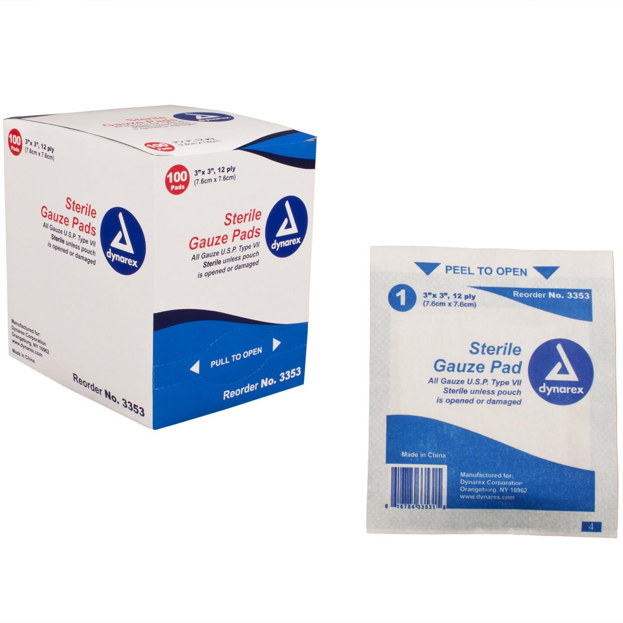 Sterile Gauze Pads - 3'' x 3'' - 100 per Box