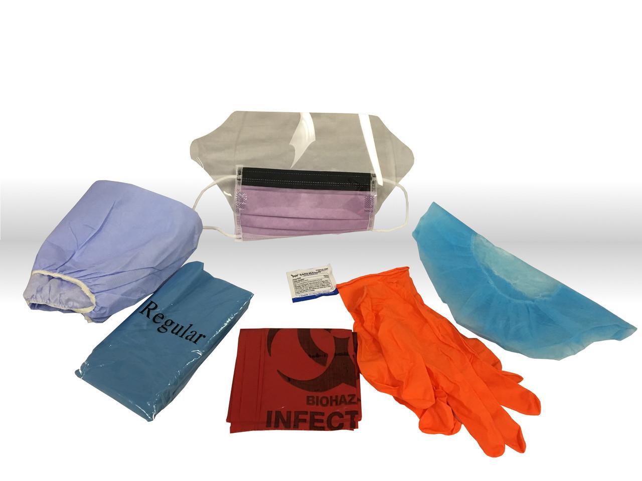 Hi-Risk Kit w/Red Biohazard Bag, Hair & Shoe Covers