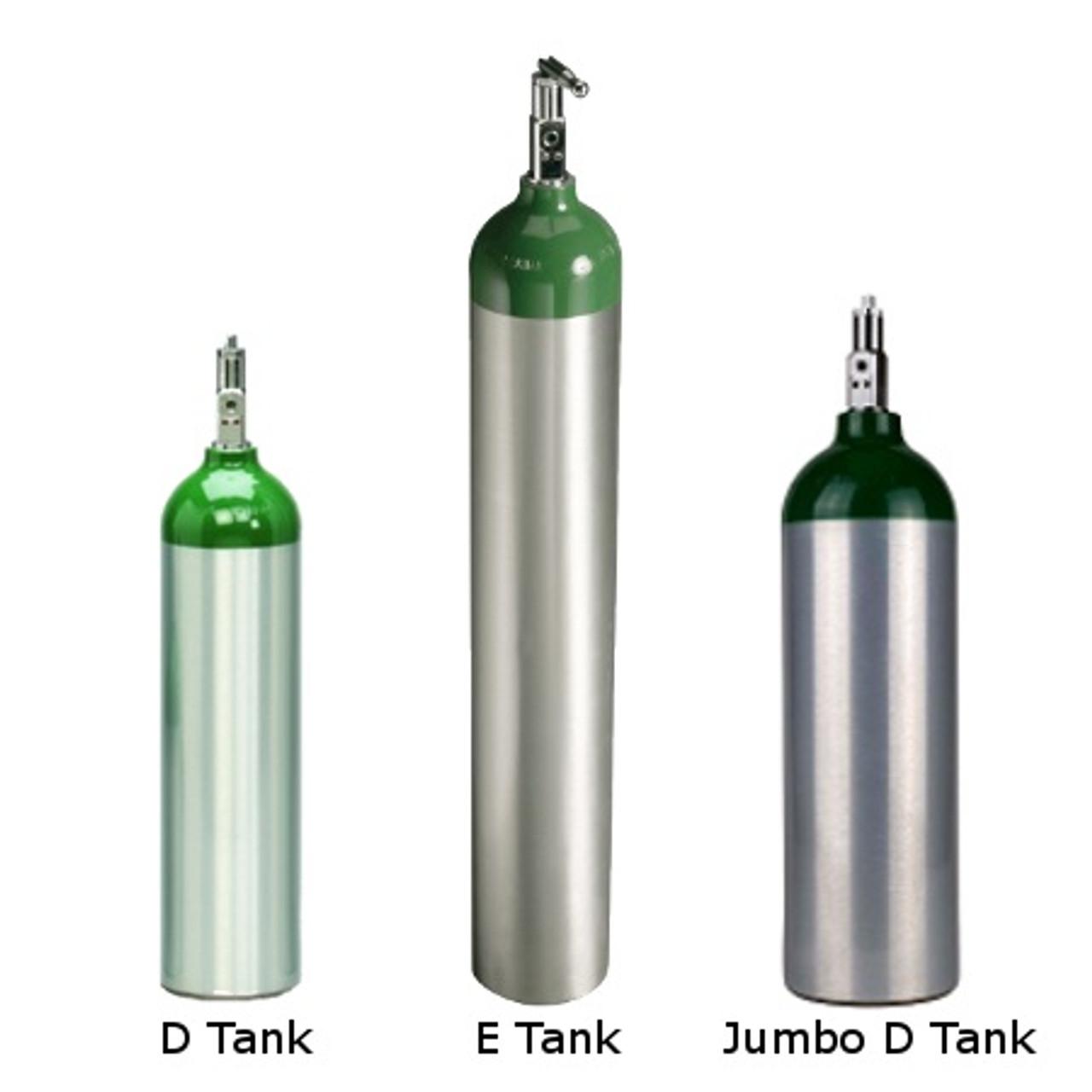 Portable Aluminum Oxygen Tanks - Sizes D, Jumbo D and E - Medical Warehouse