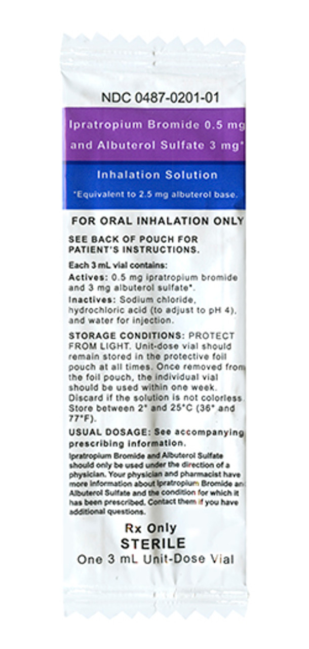 Ipratropium Bromide 0.5mg and Albuterol Sulfate 3mg (Generic for DuoNeb)- Individually Foil Packed