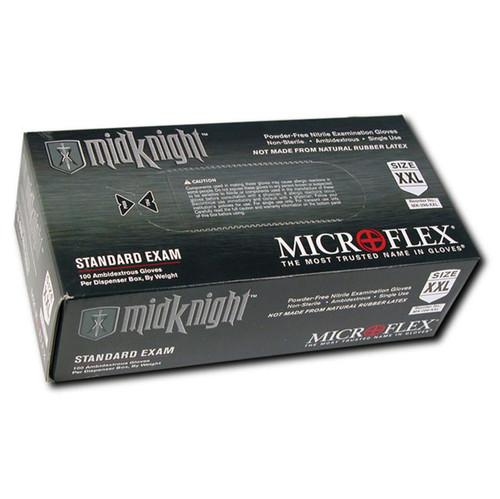 Microflex Midknight Black Nitrile Gloves - 100 per Bx