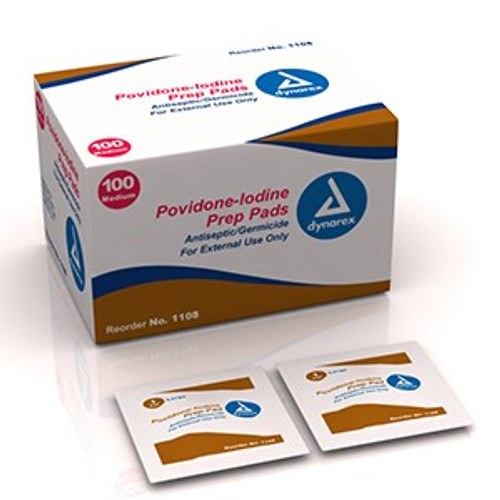 Povidone Iodine Prep Pads - 100 per Box