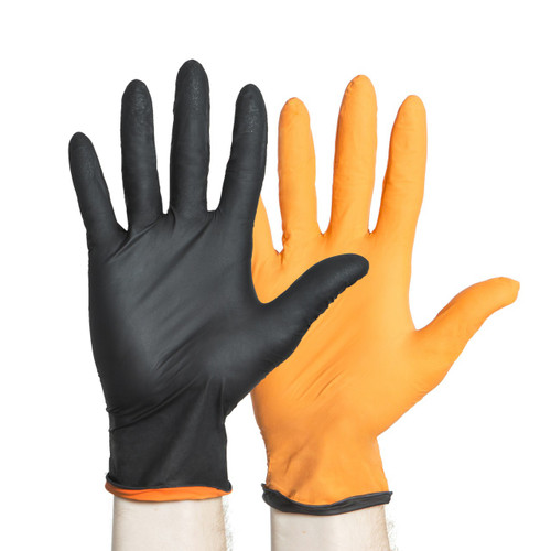 Black-Fire Black/Orange Nitrile Gloves