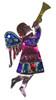 Mexican Tin Christmas Ornament - Angel Horn