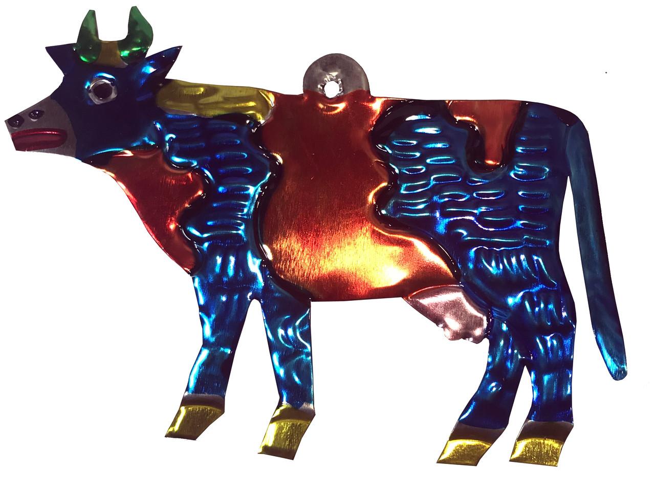 Mexican Tin Christmas Ornament - Cow - My Mercado Mexican ...