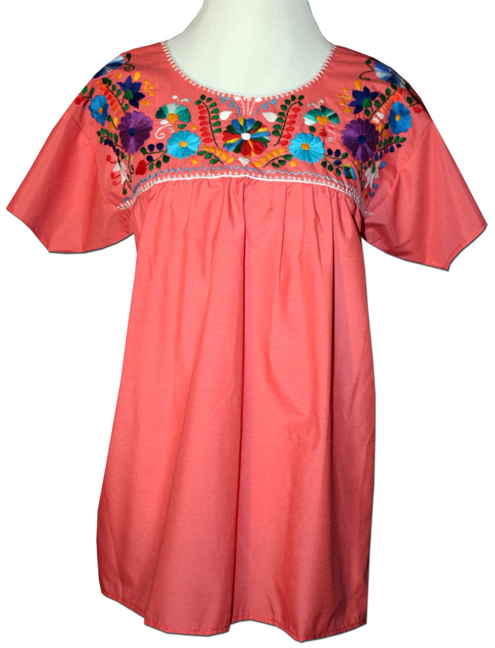 a57c36ece125f9 Mexican Embroidered Women s Blouse Orange M - My Mercado Mexican Imports