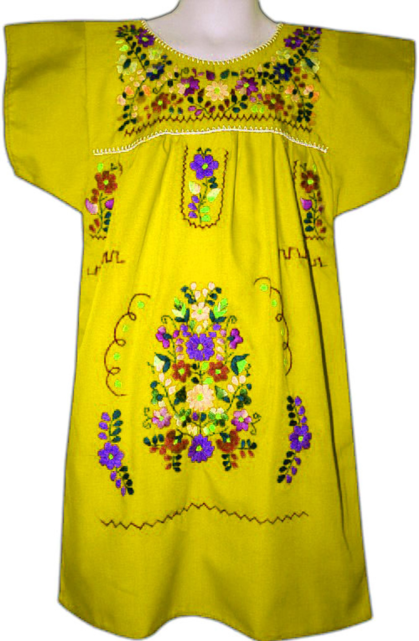 6b2c1f6b4f Girl s Mexican Fiesta Embroidered Dress Yellow Size 6 - My Mercado Mexican  Imports