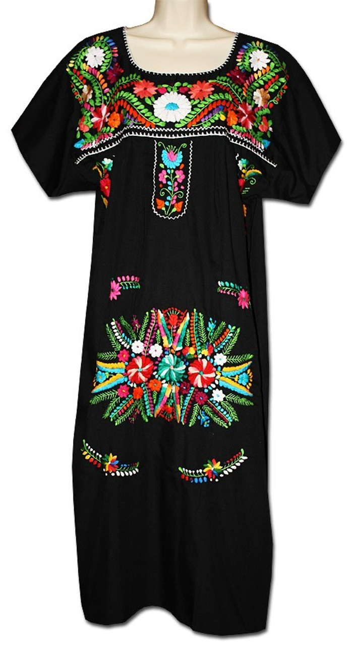 1be2be21f783b Black Mexican Women's Embroidered Puebla Dress L - My Mercado Mexican  Imports