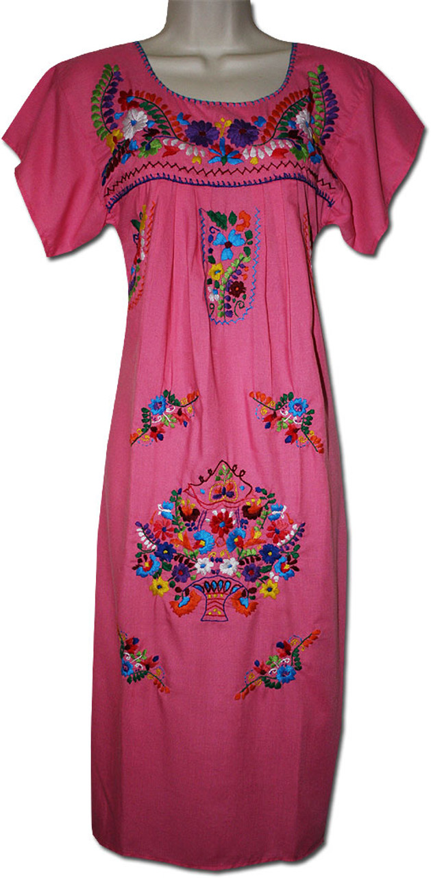 40a1885a82a21f Women s Pink Mexican Embroidered Puebla Dress XL - My Mercado Mexican  Imports