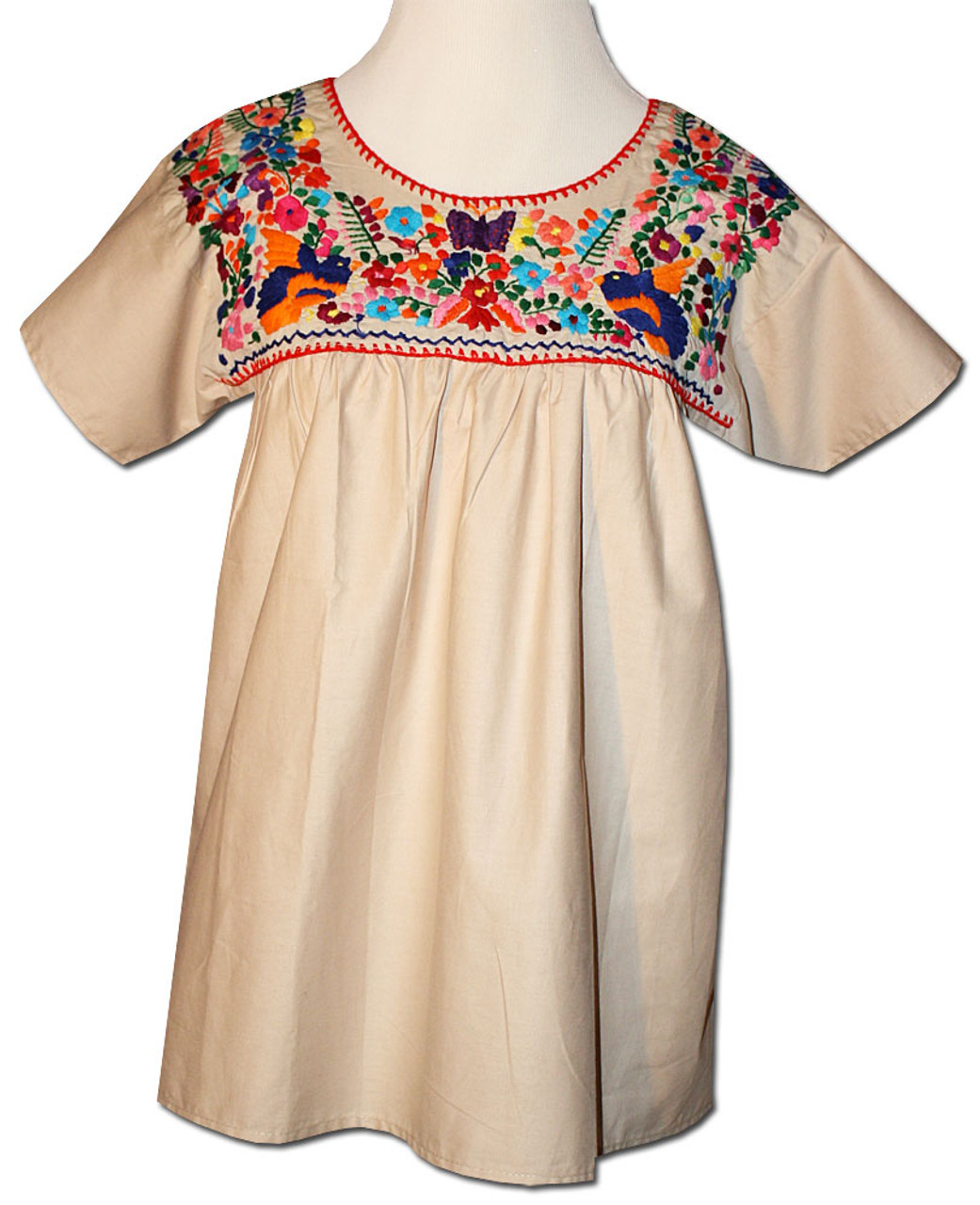 d1ce033fa5fbae Mexican Puebla Women s Embroidered Blouse Khaki XL - My Mercado Mexican  Imports