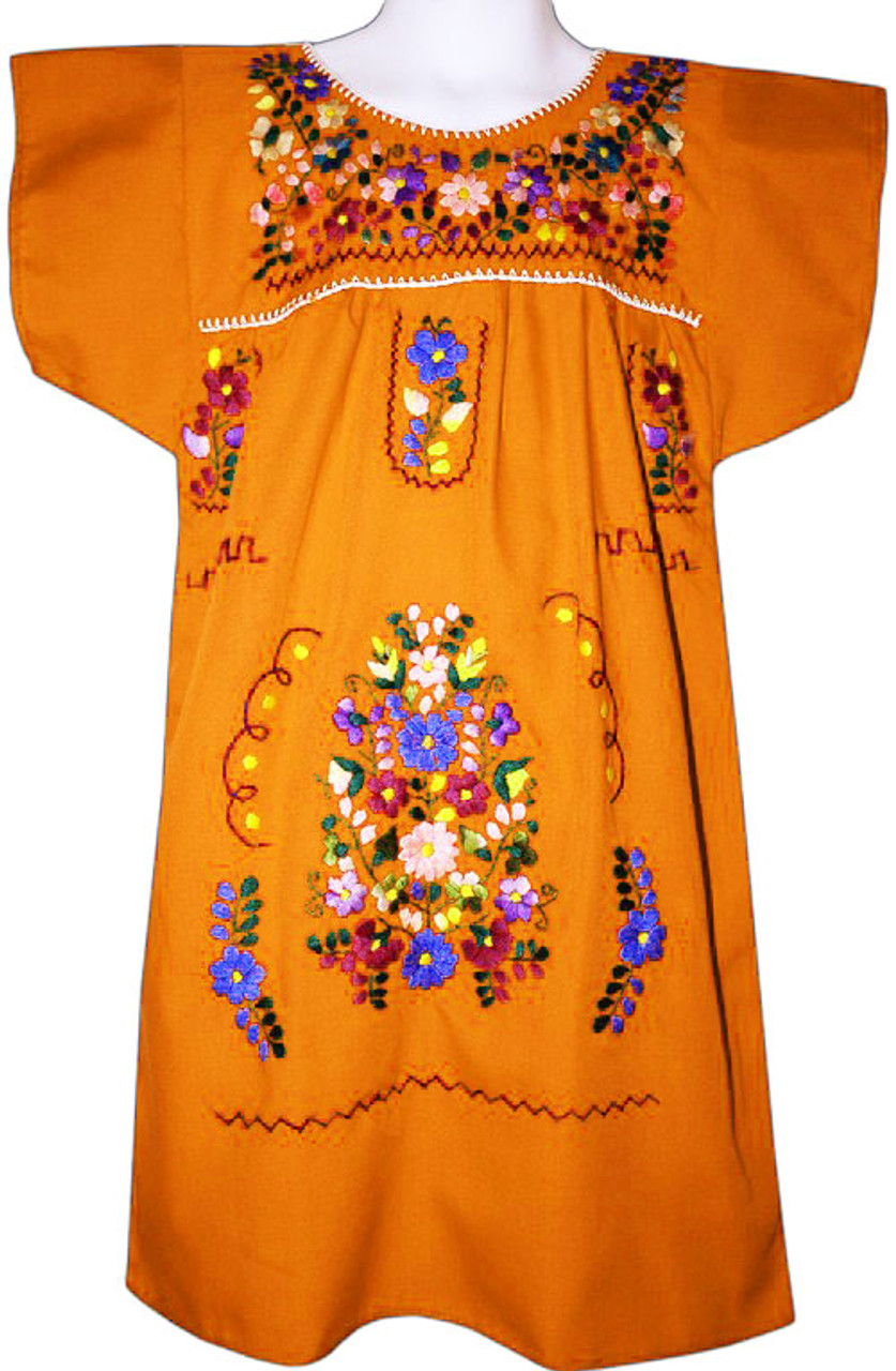 36dc40fec4 Girl s Mexican Fiesta Embroidered Dress Orange Size 10 - My Mercado Mexican  Imports