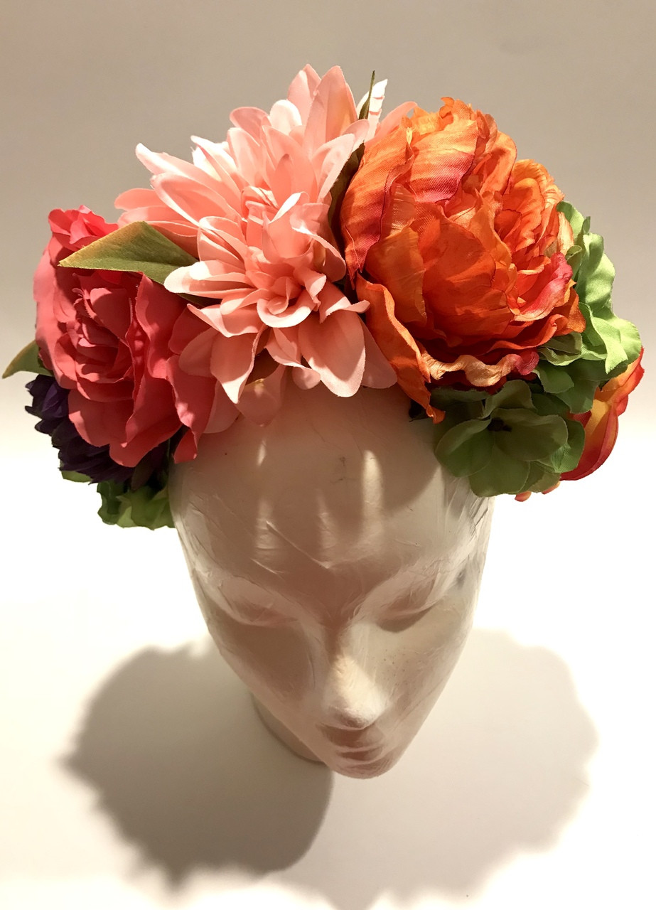 Orange Pink Women s Frida Kahlo Flower Crown Mexican Wedding - My Mercado  Mexican Imports 2d3400c018f