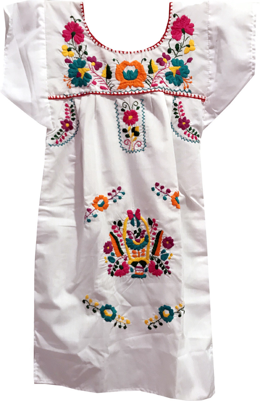 f2ea7bde1a Girl s Mexican Fiesta Embroidered Dress White Size 7 - My Mercado Mexican  Imports