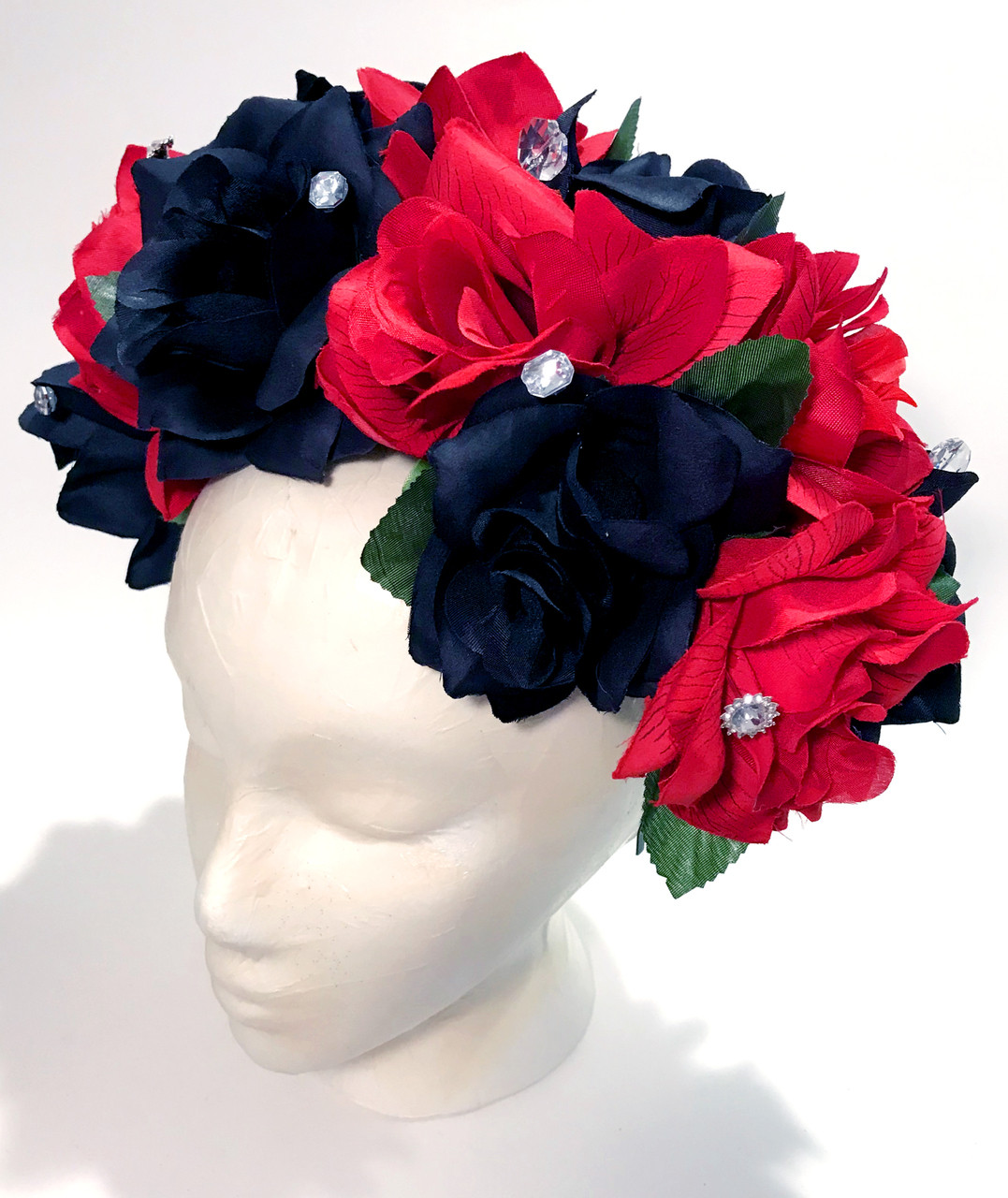 Mexican Women s Red Black Rose Flower Crown - My Mercado Mexican Imports a9300908a75
