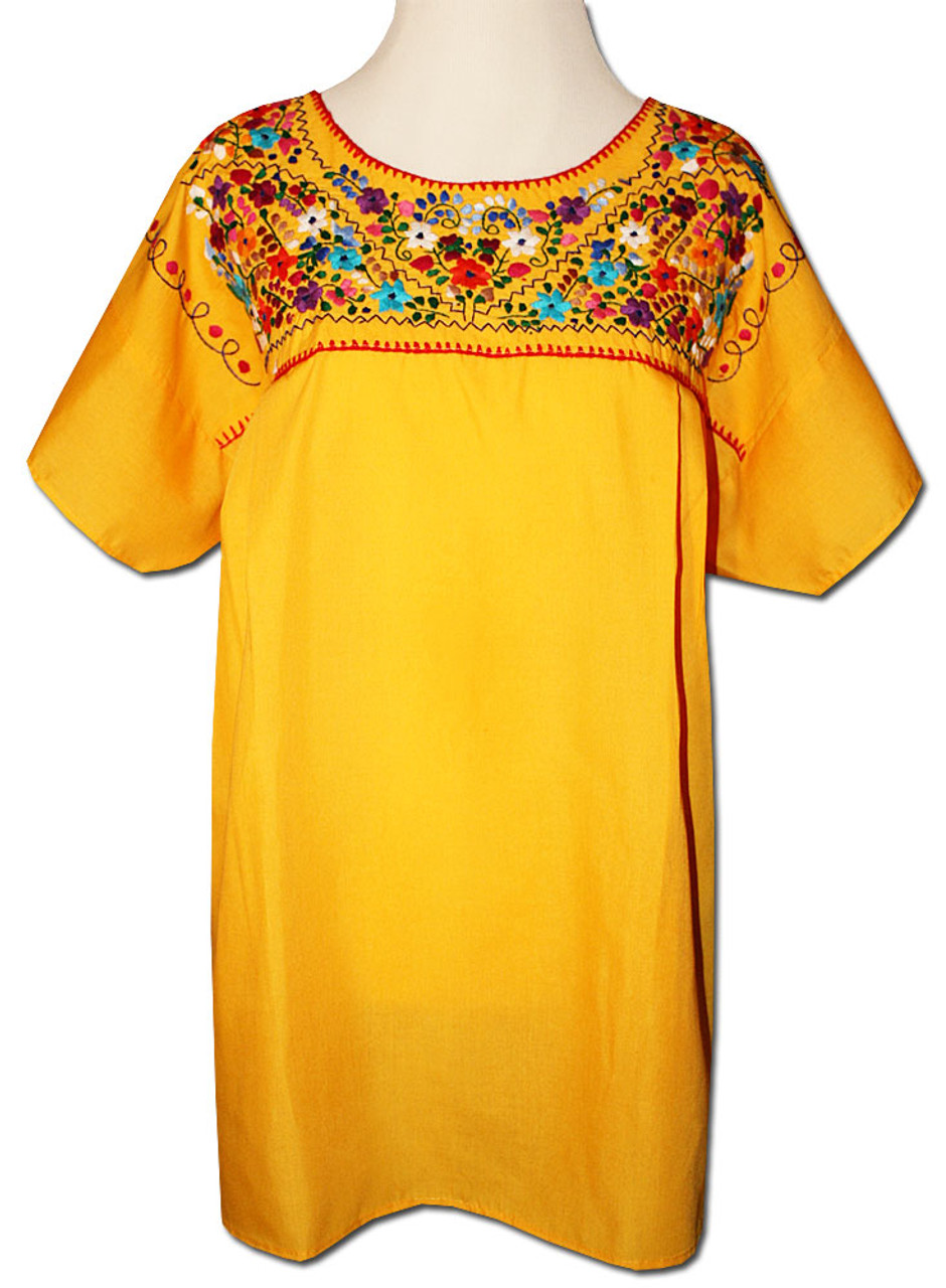 3b6600d7ed76cc Yellow Women s Mexican embroidered blouse S - My Mercado Mexican Imports