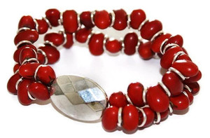 Mexican Colorin Seed Bracelet Bevel