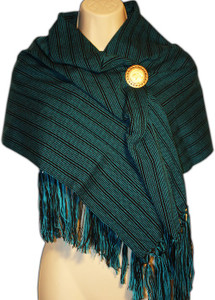 Mexican Rebozo Women's  Shawl Green Stripe