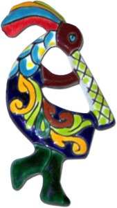 Kokopelli Mexican Talavera wall plaque