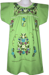 Mexican Fiesta Girl's Embroidered Dress Lime Green Size 4