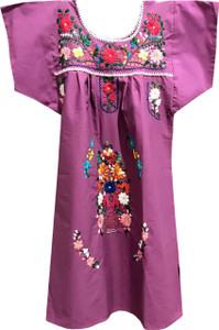 Mexican Fiesta Girl's Embroidered Dress purple Size 8