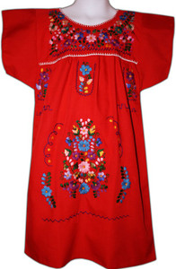 Girl's Mexican Fiesta Embroidered Dress Red Size 4