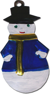 Mexican Tin Christmas Ornament - Snowman
