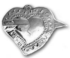 Mexican Tin Christmas Ornament - Heart 1