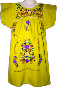 Girl's Mexican Fiesta Embroidered Dress Yellow Size 6
