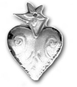 Mexican Tin Christmas Ornament - Heart 4