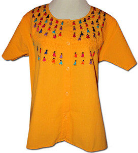 Embroidered Women's Oaxacan Peasant Yellow Blouse L/XL