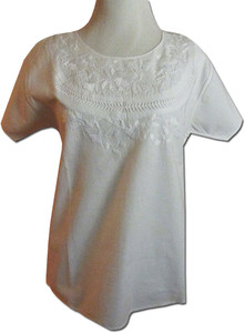 Embroidered Women's Oaxacan Peasant White Blouse S/M
