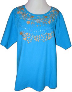 Embroidered Women's Oaxacan Peasant Turquoise Blouse XL