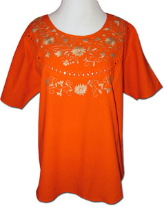 Embroidered Women's Oaxacan Peasant Orange Blouse XL