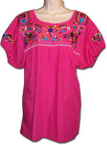 Mexican Embroidered Women's Blouse Pink S