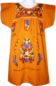 Girl's Mexican Fiesta Embroidered Dress Orange Size 10