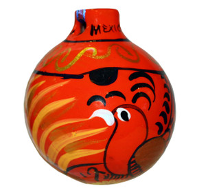Mexican Talavera Pottery Christmas Ornament Decoration - Orange Bird