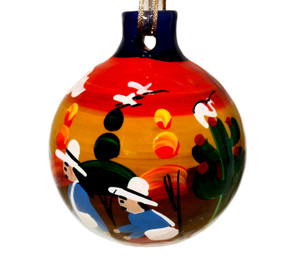 Mexican Talavera Pottery Christmas Ornament Decoration - Ball 027