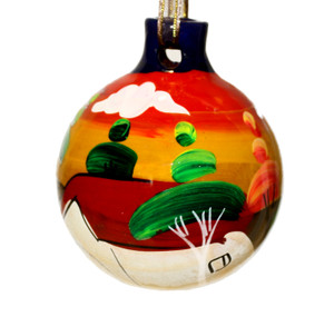 Mexican Pottery Christmas Ornament - Turquoise