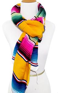Mexican Blanket Serape Scarf Bohemian Wrap Yellow