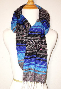Mexican Blanket Serape Scarf - Blue Black Grey