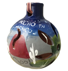 Mexican Pottery Christmas Ornament - Ball 044