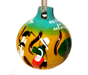 Mexican Pottery Christmas Ornament - Golden