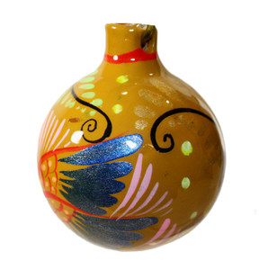 Mexican Pottery Christmas Ornament - Yellow ball