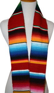 Graduation Stole Sash Mexican Serape Ethnic Scarf Red