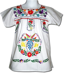 Girl's Mexican Fiesta Embroidered Puebla Dress White Size 3