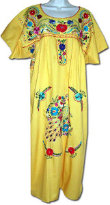 Yellow Women's Mexican Embroidered Puebla Dress L