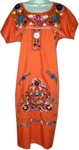 122d2ba6f57a2 Orange Women's Mexican Embroidered Puebla Dress S