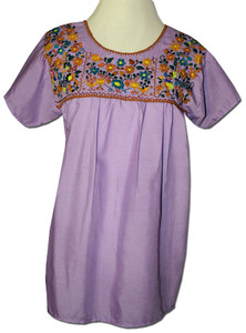 Embroidered Women's  Peasant Blouse Lavender XXL